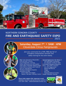 Northern Sonoma County Fire & Earthquake Safety Expo: August 7th, 2021